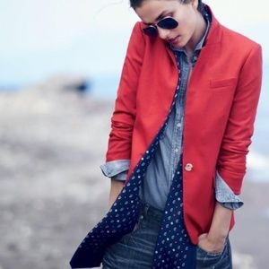 J. Crew Petite Regent Blazer in Red Wool Flannel